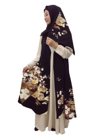 Hijab dan long cardigan set (motif sama)