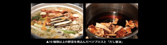 ▲Vege-broth, using more than 10 kinds of vegetables, and soup soy sauce
