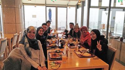 Muslim guests enjoy halal foods