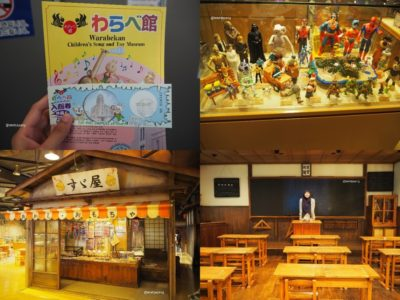Top, from left-right: the entry ticket, some of toys collection. Bottom, from left-right: the replica of a snack stall and a class room in the Showa Era.