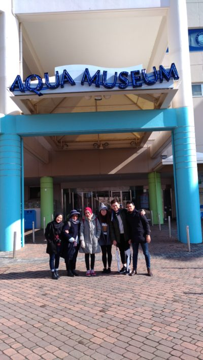 Fam trip members in front of Hakkeijima Aqua Museum